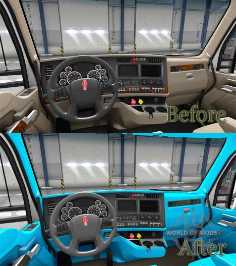 Голубой интерьер в Kenworth T680 для American Truck Simulator