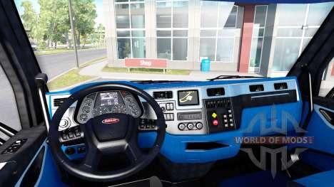 Чёрно-синий интерьер в Peterbilt 579 для American Truck Simulator