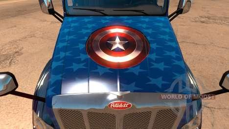 Скин Captain America для грузовика Peterbilt 579 для American Truck Simulator