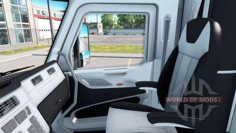 Чёрно-белый интерьер в Peterbilt 579 для American Truck Simulator
