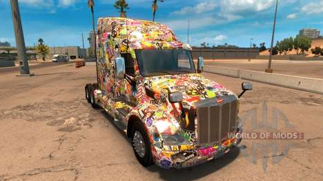 Sticker Bomb скин для Peterbilt 579 для American Truck Simulator