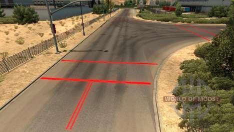 Красная дорожная разметка для American Truck Simulator