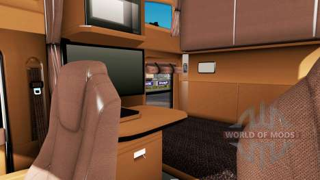 Коричневый интерьер в Kenworth T680 для American Truck Simulator