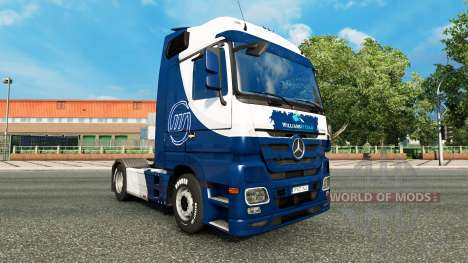Скин Williams F1 Team на тягач Mercedes-Benz для Euro Truck Simulator 2
