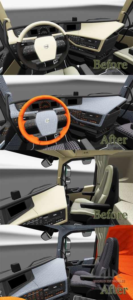 Клетчатый интерьер Volvo FH для Euro Truck Simulator 2