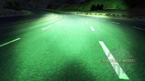 Зелёный ксеноновый свет для American Truck Simulator