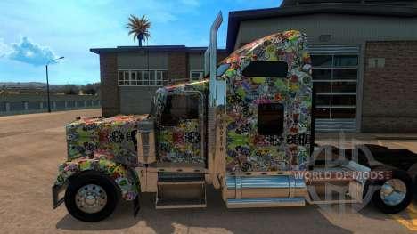 Sticker Bomb скин для Kenworth W900 для American Truck Simulator