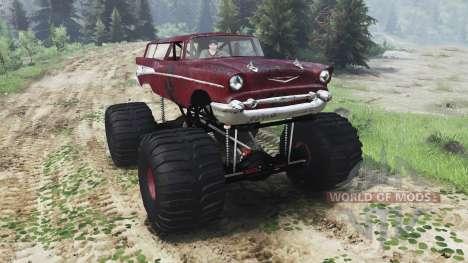 Chevrolet Bel Air Wagon 1957 [monster] для Spin Tires