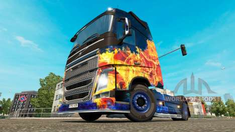 Скин Blue Fire на тягач Volvo для Euro Truck Simulator 2