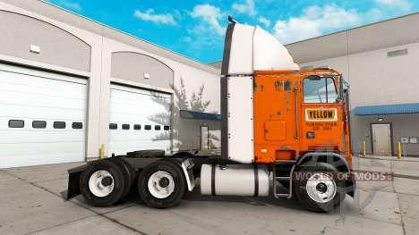 Скин Yellow Fright System на тягач Freightliner для American Truck Simulator