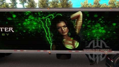 Monster Energy Trailer для American Truck Simulator
