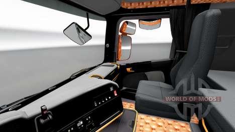 Чёрно-оранжевый интерьер Scania для Euro Truck Simulator 2