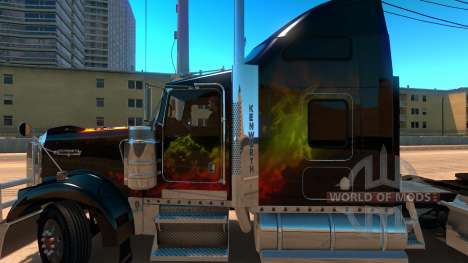 Kenworth W900 Guns and Roses Skin для American Truck Simulator