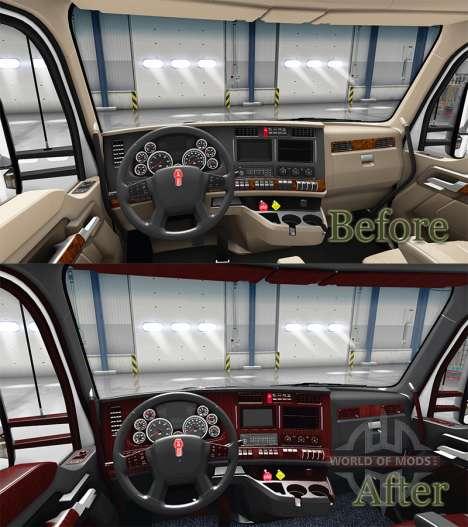 Люксовый чёрный интерьер Kenworth T680 для American Truck Simulator