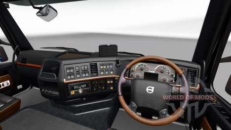 Чёрно-коричневый интерьер Volvo для Euro Truck Simulator 2