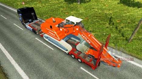 Низкорамный трал с экскаватором ATLAS для Euro Truck Simulator 2