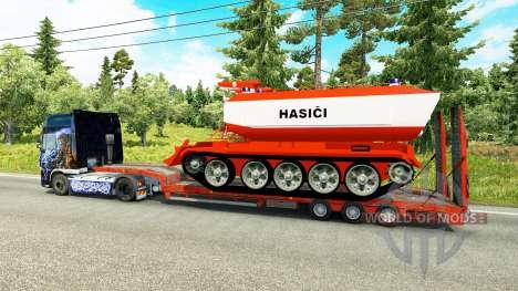 Низкорамный трал с пожарным танком для Euro Truck Simulator 2