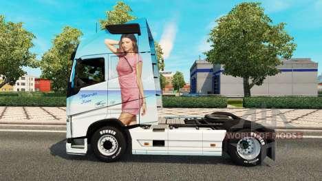 Скин Miranda Kerr на тягач Volvo для Euro Truck Simulator 2