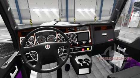 Фиолетовый интерьер Kenworth W900 для American Truck Simulator