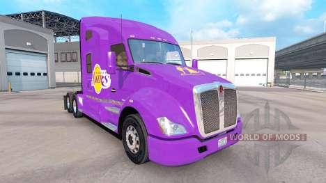 Скин Los Angeles Lakers на тягач Kenworth для American Truck Simulator