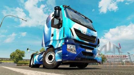 Скин Blue Abstract на тягач Iveco для Euro Truck Simulator 2