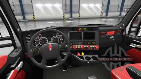 Красный интерьер Kenworth T680 для American Truck Simulator
