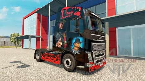 Скин Freddy Krueger на тягач Volvo для Euro Truck Simulator 2