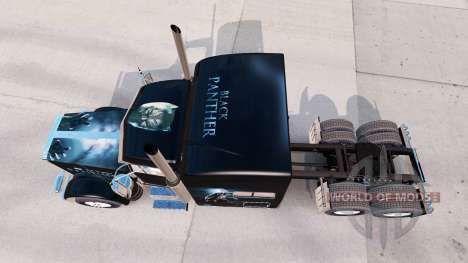 Скин Black Panther на тягач Peterbilt 389 для American Truck Simulator