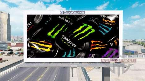 Реклама Monster Energy на билбордах для American Truck Simulator