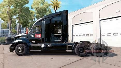 Скин YouTube на тягач Kenworth для American Truck Simulator