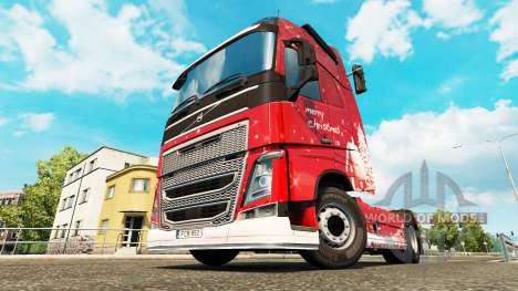 Скин Merry Christmas на тягач Volvo для Euro Truck Simulator 2