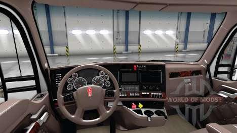 Люксовый коричневый интерьер Kenworth T680 для American Truck Simulator