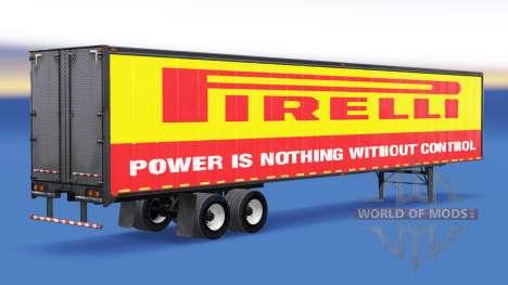 Цельнометаллический полуприцеп Pirelli для American Truck Simulator