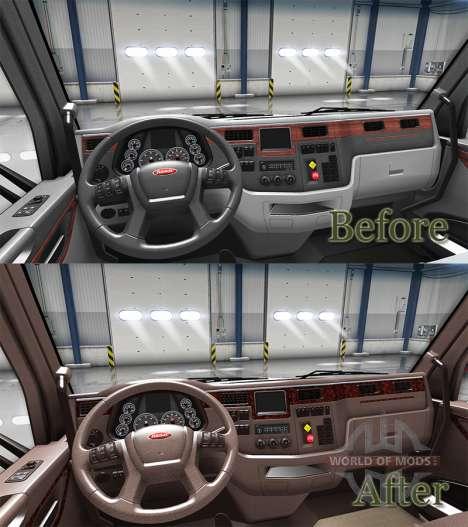 Люксовый коричневый интерьер Peterbilt 579 для American Truck Simulator