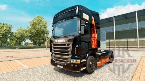 Скин Burning woman на тягач Scania для Euro Truck Simulator 2