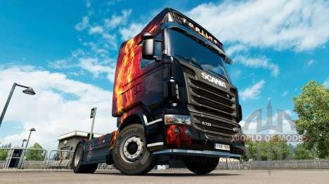 Скин Fire Girl на тягач Scania для Euro Truck Simulator 2