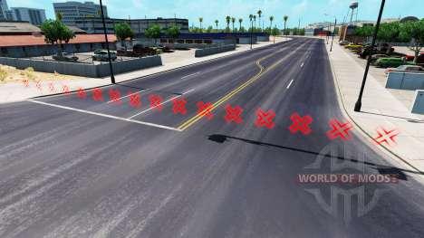 Красный цвет барьеров для American Truck Simulator