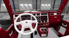 Красно-белый интерьер Kenworth W900