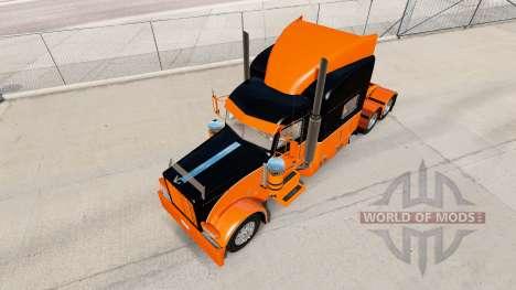 Скин Black and Orange на тягач Peterbilt 389 для American Truck Simulator