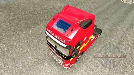 Скин Fire & Rescue на тягач Volvo для Euro Truck Simulator 2