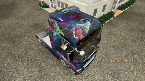 Скин Fractal Flame на тягач MAN для Euro Truck Simulator 2