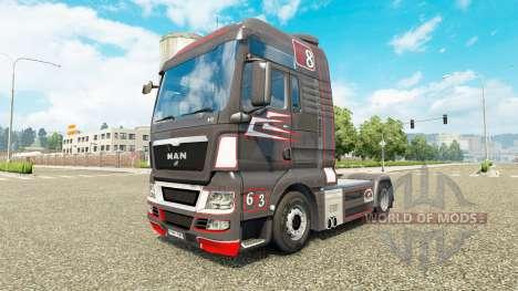 Скин Grey Red на тягач MAN для Euro Truck Simulator 2