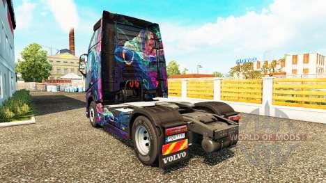 Скин Fractal Flame на тягач Volvo для Euro Truck Simulator 2