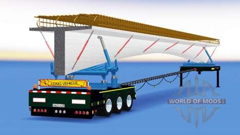 Прицеп-роспуск с грузом бетонного моста для American Truck Simulator