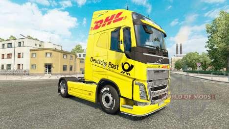 Скин DHL на тягач Volvo для Euro Truck Simulator 2