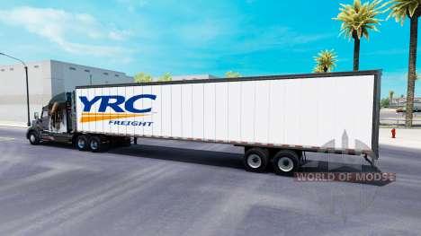 Цельнометаллический полуприцеп YRC Freight для American Truck Simulator