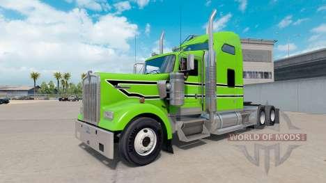 Скин Black-white stripes на тягач Kenworth W900 для American Truck Simulator