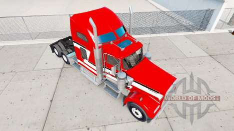 Скин Red and White на тягач Kenworth W900 для American Truck Simulator