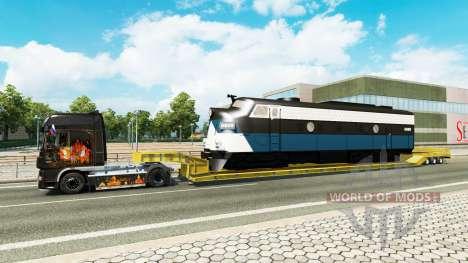 Низкорамный трал с локомотивом для Euro Truck Simulator 2