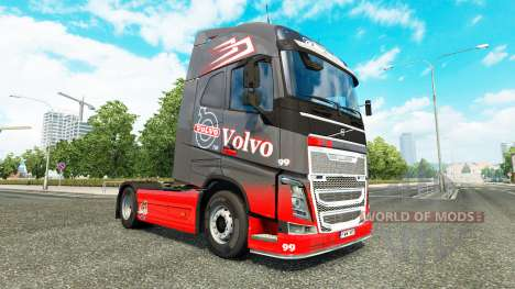 Скин Grey Red на тягач Volvo для Euro Truck Simulator 2
